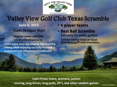 Valley View Golf Club- Texas Scramble, Saturday June 6 @ Valley View Golf Course | Winlaw | British Columbia | Canada