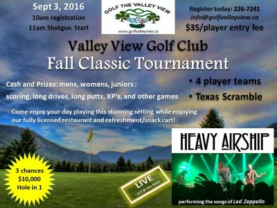 Valley View Golf Course - Fall Classic Tournament @ Valley View Golf Course | Winlaw | British Columbia | Canada
