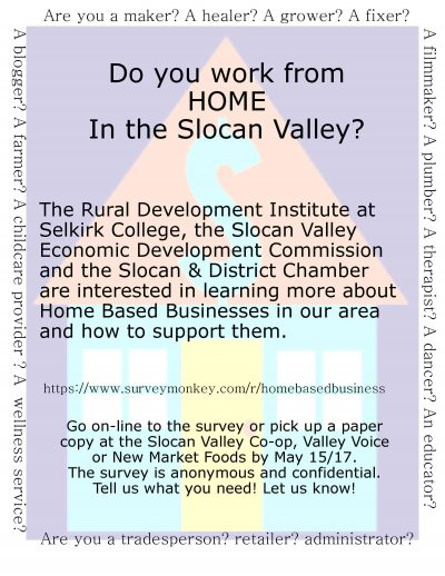 slocan valley home based business survey on line slocan valley