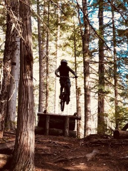 mountain biker airs off wooden jump amongst woodland