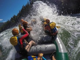 whitewater rafting down river