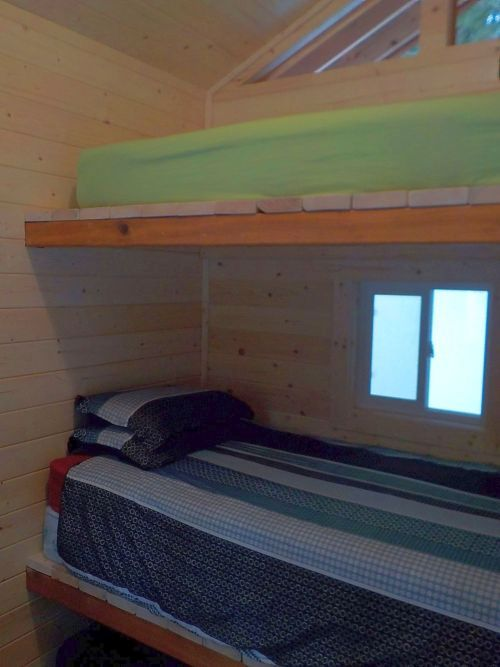 bunk beds in a hut
